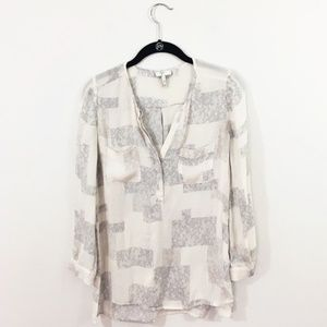 Joie Lace Print Silk Top